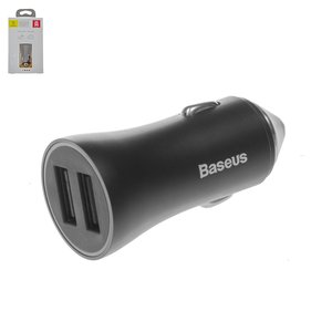 Автомобільний зарядний пристрій Baseus BSC C6, 12 В, 2 USB виходи 5В 2,4А , чорне, #CCALL DZ01