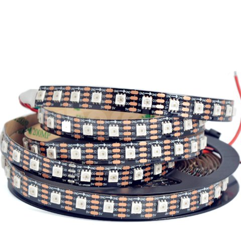 RGB LED Strip SMD5050, SK9822 black, with controls, IP20, 5 V, 60 LEDs m, 5 m